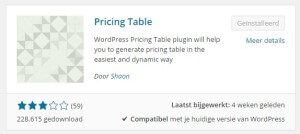 Download en installeer de pricing table plugin door shaon
